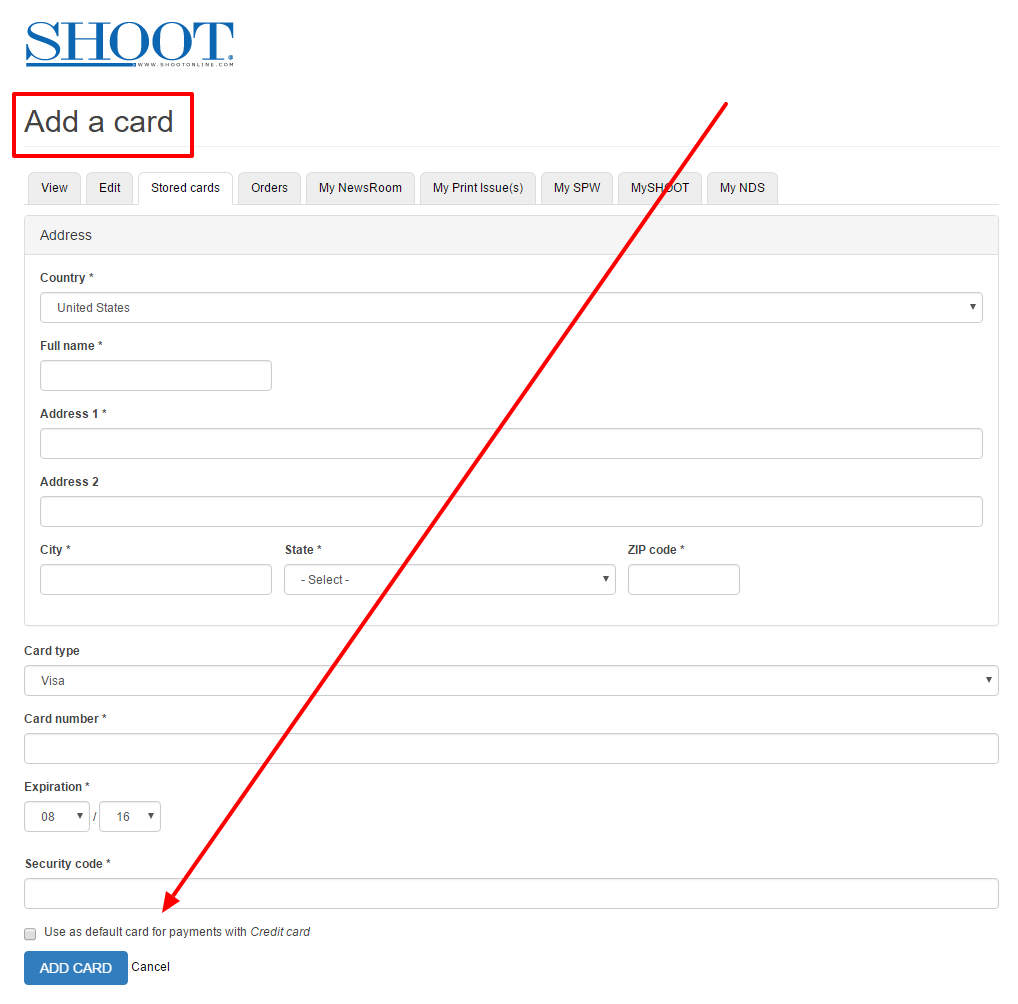 Add a card members.shootonline.com 2
